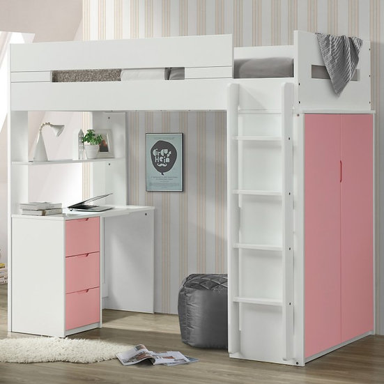 Nerice Pink Twin Loft Bed