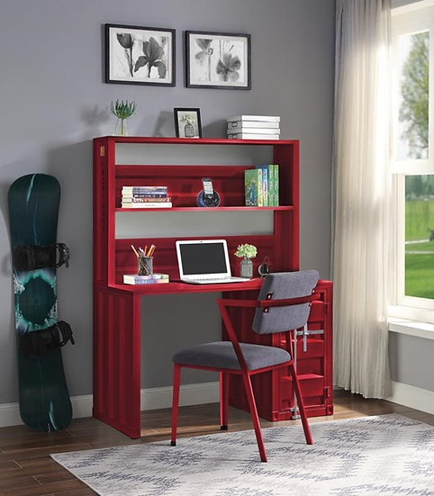 Red Cargo Writing Desk with Hutch