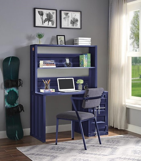Blue Cargo Writing Desk with Hutch