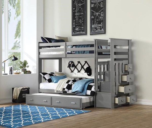 Ethan twin over twin bunk bed w/trundle