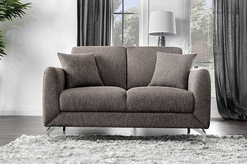 Furniture of America Lauritz Contemporary Brown Linen Loveseat