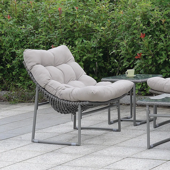 Furniture of America Contemporary Grey Metal Patio Chair