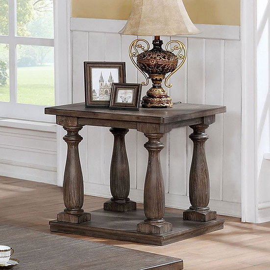 Furniture of America Traditional Solid Wood Open Shelf End Table