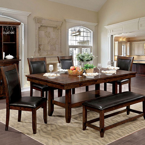 Meagan I Dining table set w/bench