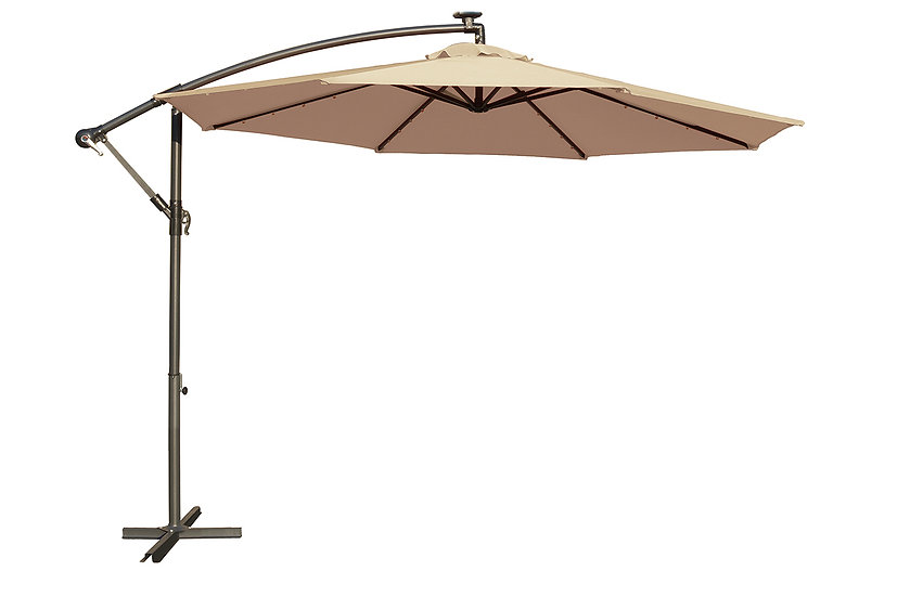 10′ Solar Powered LED Cantilever Umbrella