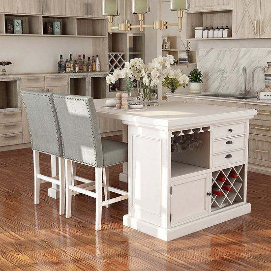Furniture of America Antique White 3-piece Kitchen Island Set