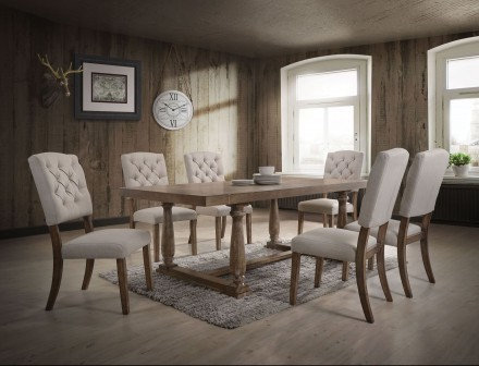 ACME 7-Piece Weathered Oak Dining Table Set