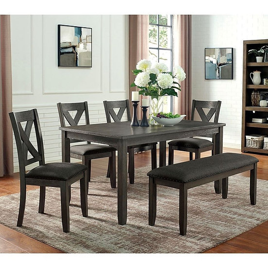 Furniture of America Cilgerran I Transitional Grey Solid Wood Dining Table Set