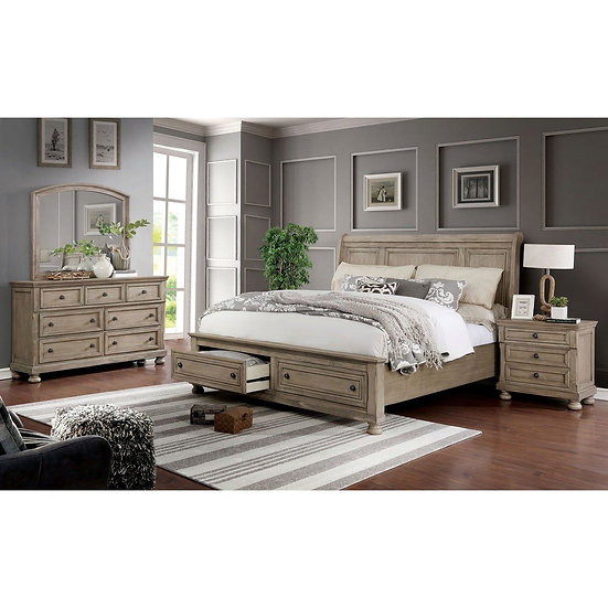 3-piece Bed with Nightstand and Dresser Set - Eastern King