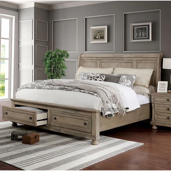 Furniture of America Transitional Solid Wood 2-piece Bedroom Set - Queen
