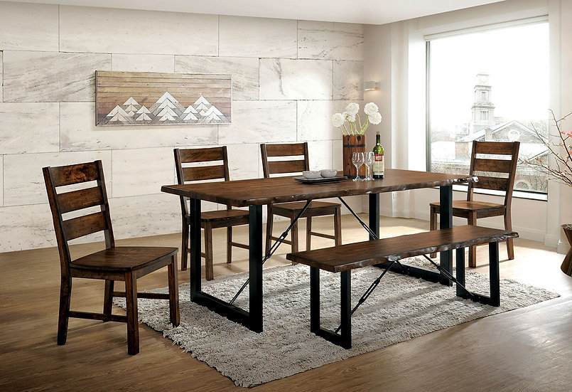 Furniture of America Dulce 6 Piece Rustic Dining Table Set