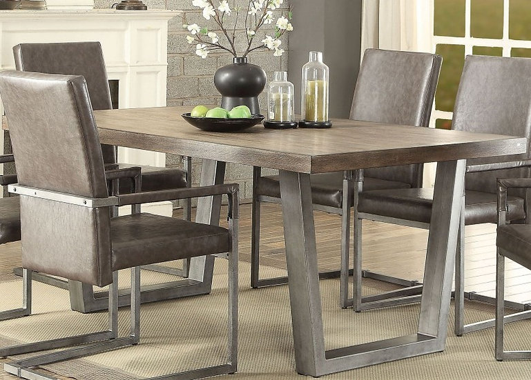 Lazarus Weathered Oak and Antique Silver Dining Table by ACME