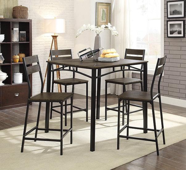 Furniture of America Rustic Brown Metal 5-piece Counter Set