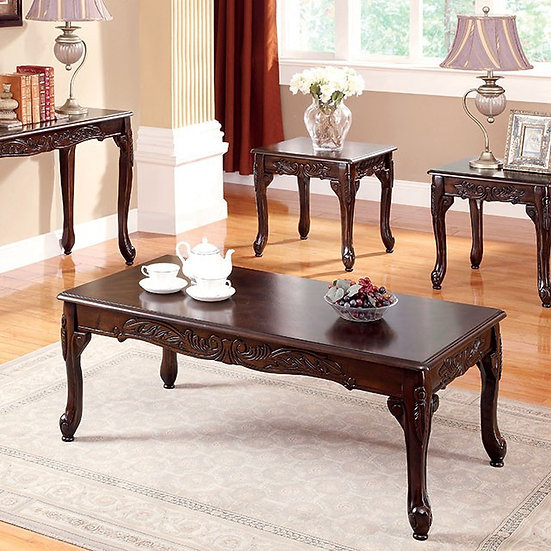Furniture of America  3-piece Cherry Coffee and End Table Set