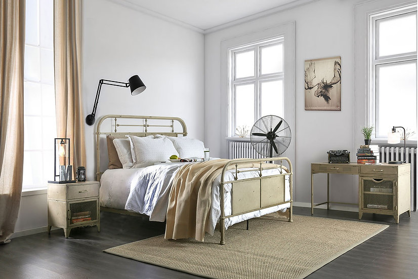 Haldus White Twin Metal Panel Bed