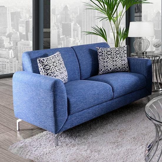 Furniture of America Lauritz Contemporary Blue Linen Loveseat