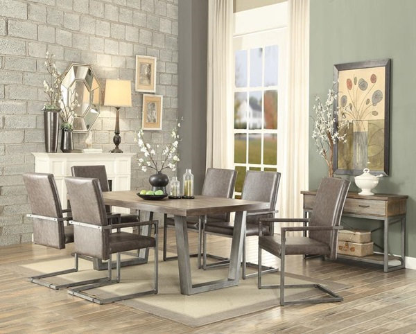 Lazarus 7 PC Weathered Oak and Antique Silver Dining Table by ACME