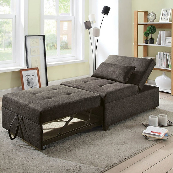 Furniture of America Oona Modern Linen Fabric Convertible Futon Chair
