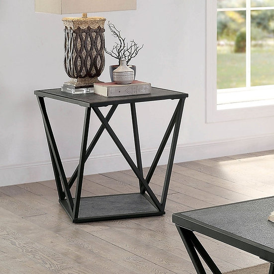 Furniture of America Contemporary Grey Metal End Table