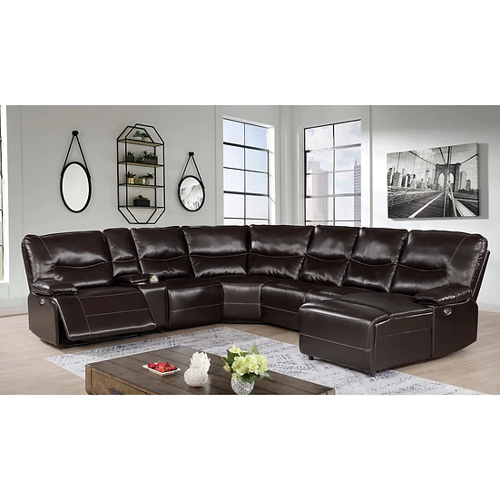Furniture of America Dark Brown Power Sectional &  3-piece Coffee Table and End