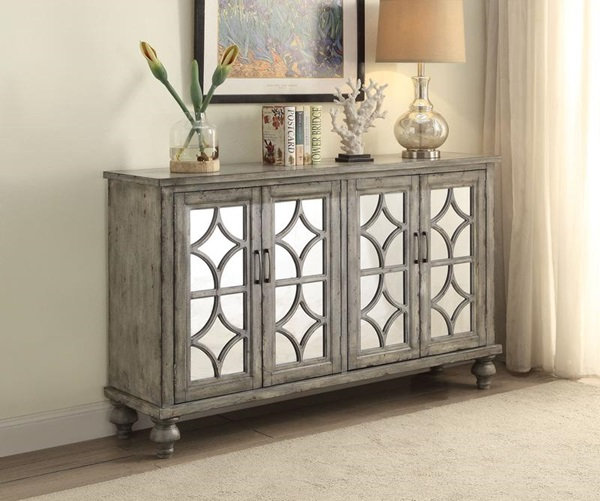 Velika Weathered Gray 4 Door Console Table