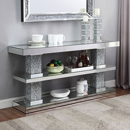 Acme Noralie Console Table With Mirrored And Faux Diamonds