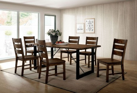 Furniture of America Dulce 7 Piece Rustic Dining Table Set