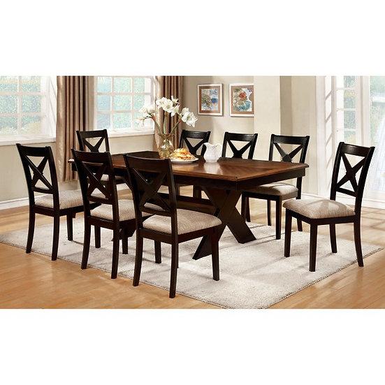 Furniture of America Liberta 9-Piece Trestle Dining Set - Dark Oak / Black