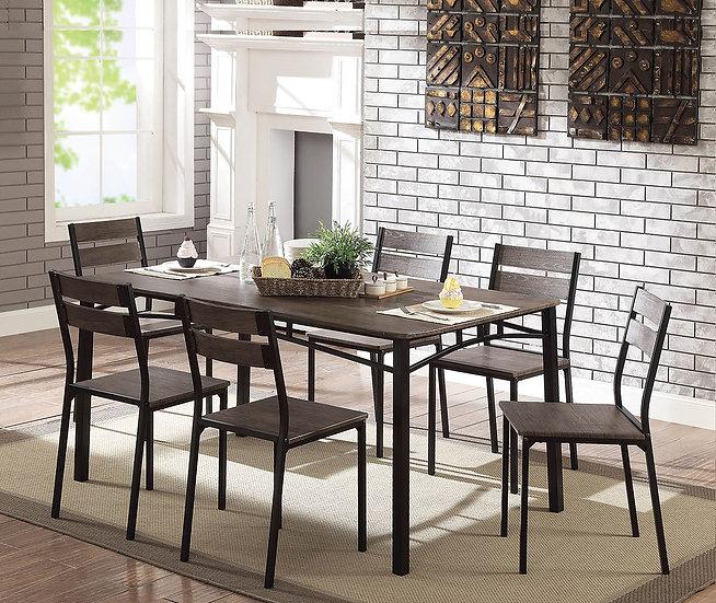 Furniture of America Rustic Brown Metal 7-piece Dining Set