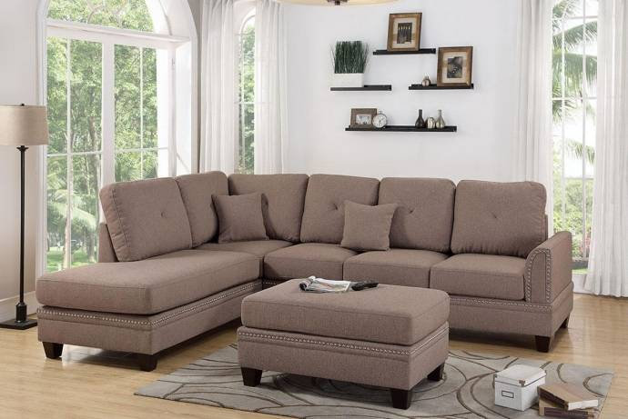 Upholstered 2-Pcs Sectional Sofa Set