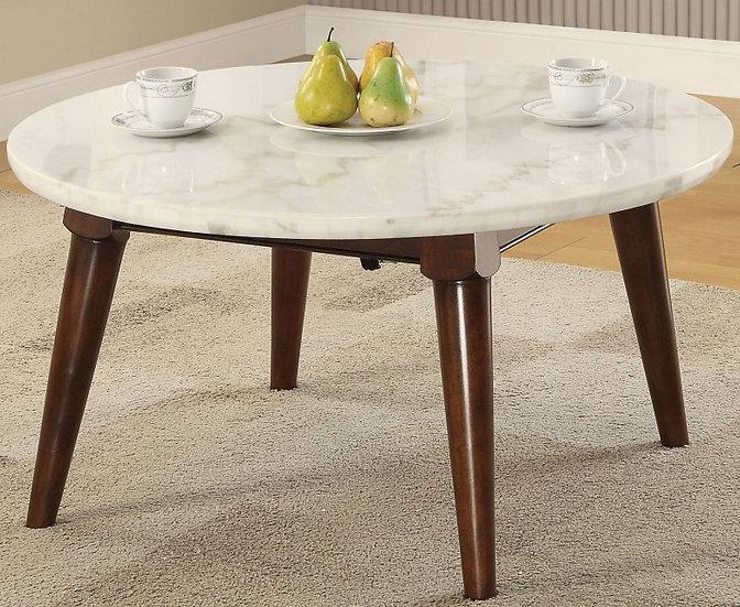 Gasha White Marble and Walnut Coffee Table