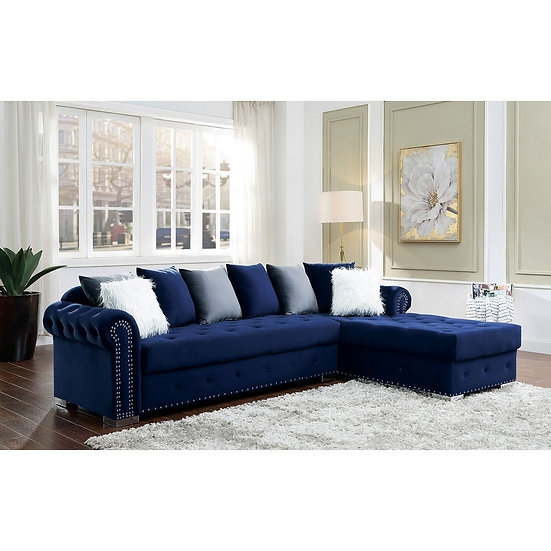 Furniture of America Glam Button Tufted Fabric Sectional