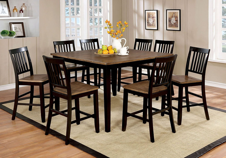 Izidora Rustic Oak and Espresso Counter Height Dining Room Set