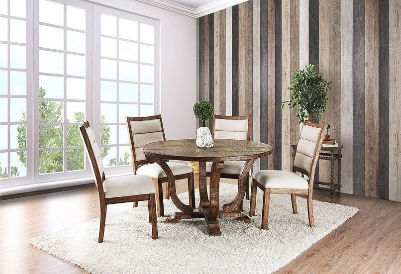 Furniture of America Isabelle 5 Piece Rustic Round Dining Table Set