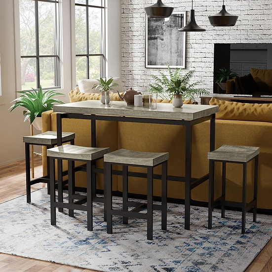 Furniture of America Contemporary Brown Metal 5-piece Dining Set