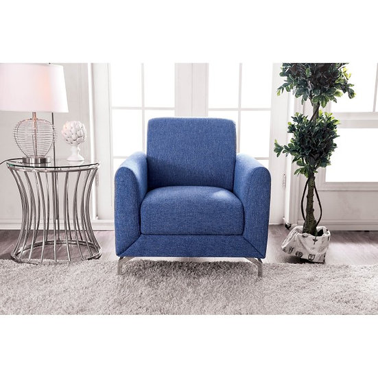Furniture of America Lauritz Contemporary Blue Linen Accent Chair