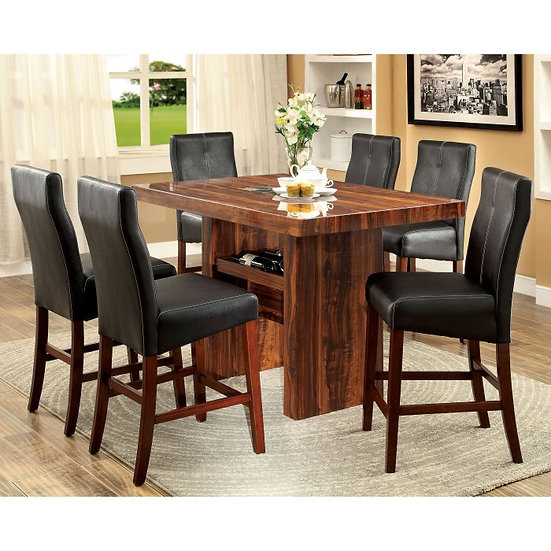 Furniture of America  Bonneville II 7 Piece Counter Height Dining Table Set