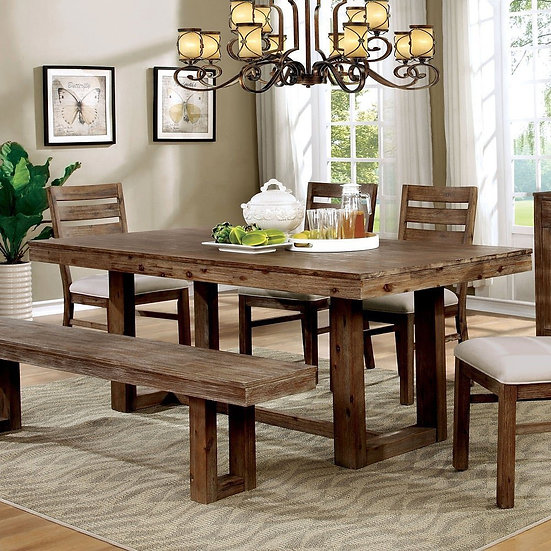 Rustic Dining table set with bench and matching server