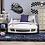 Thumbnail: Furniture of America Logan Modern White Chrome Wheel Car Bed