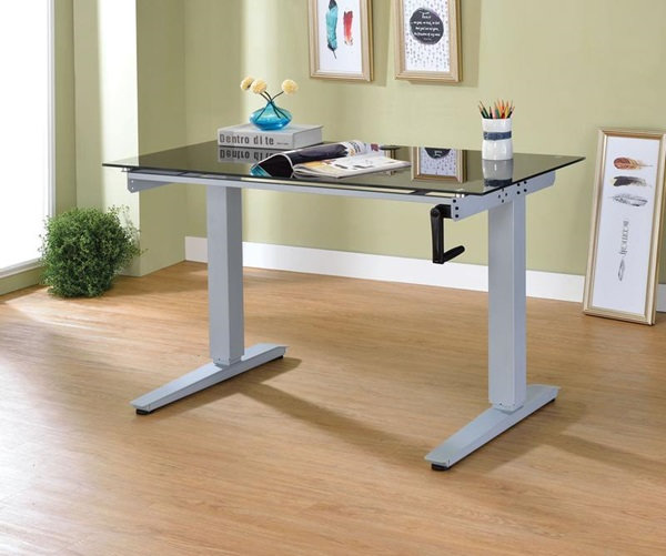 Bliss desk features a power lift top