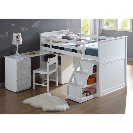 Wyatt White Loft Bed With Chest and Desk