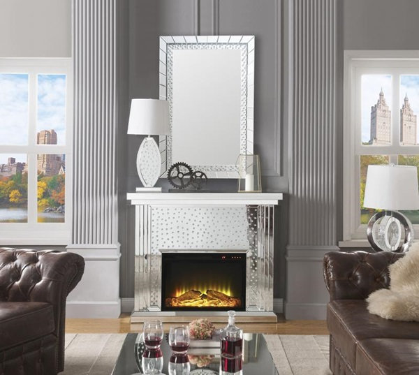 Nysa Fireplace, Mirrored & Faux Crystals