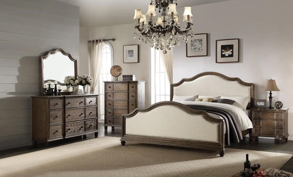 Acme Furniture Baudouin Panel E King Bed, Beige Linen & Weathered Oak