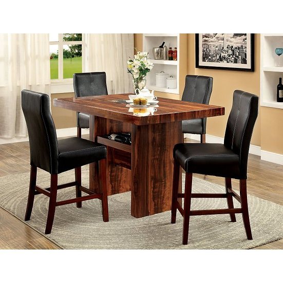 Furniture of America Bonneville II 5 Piece Counter Height Dining Table Set