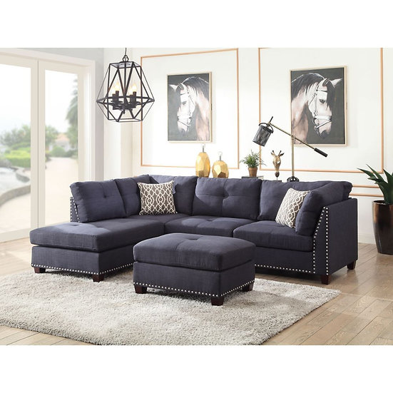 Sectional Sofa & Ottoman (2 Pillows)