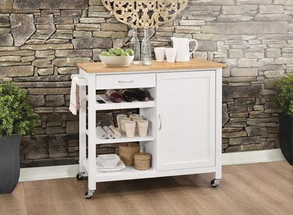 Ottawa Natural and White Kitchen Cart