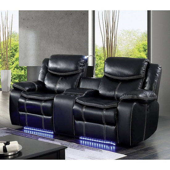 Furniture of America Sirius LED Bluetooth Power Recliner Loveseat