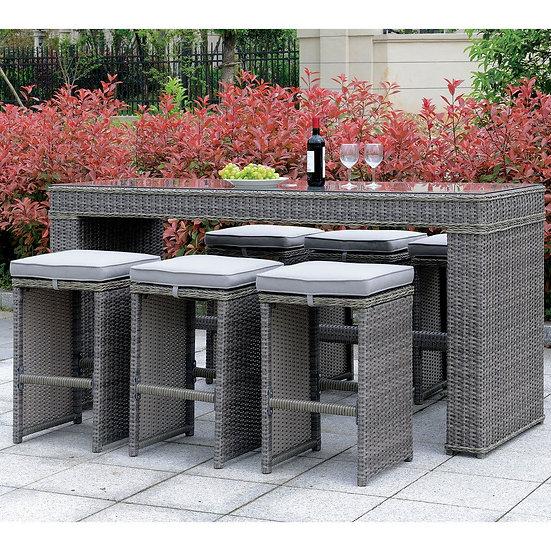 Furniture of America Contemporary Grey Metal 7-piece Bar Set
