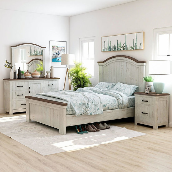 Furniture of America Rustic White 4-piece Bedroom Set - Queen