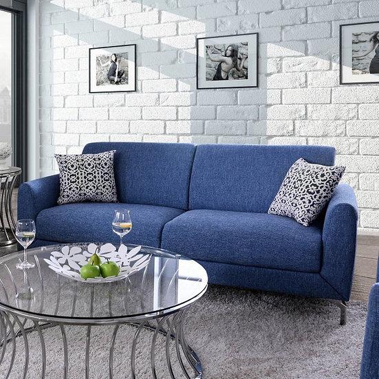 Furniture of America Lauritz Contemporary Blue Linen Sofa